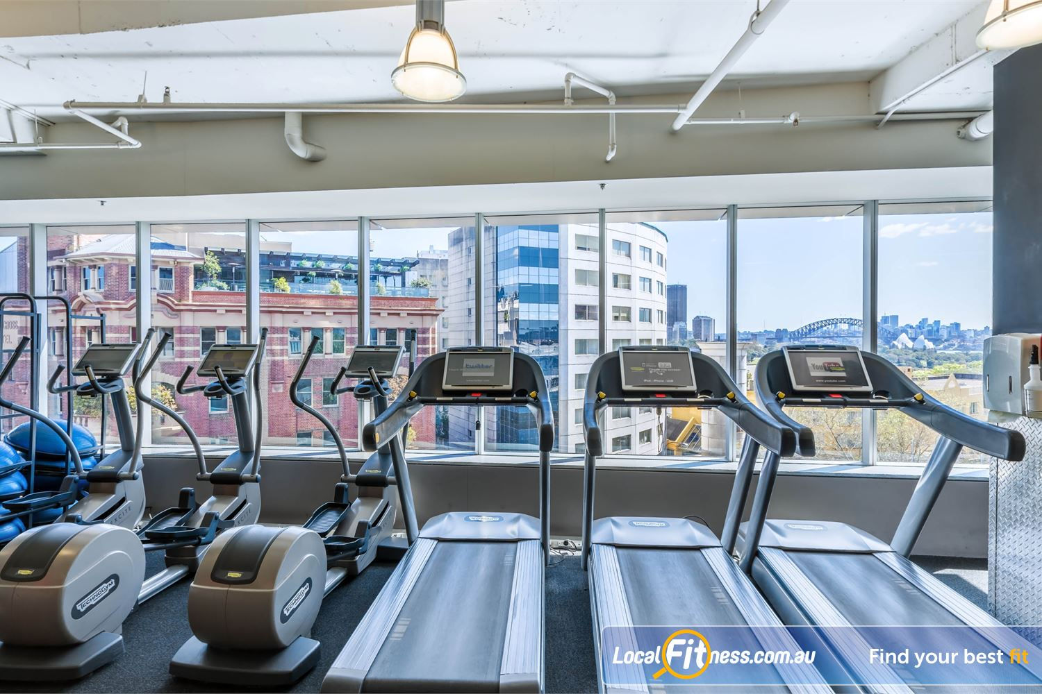 Fitness First Platinum Kings Cross Near Rushcutters Bay Spectacular views of Sydney's iconic Harbour Bridge and Opera House from Fitness First Kings Cross gym.
