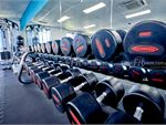 Fully equipped free-weights area include dumbbells for all