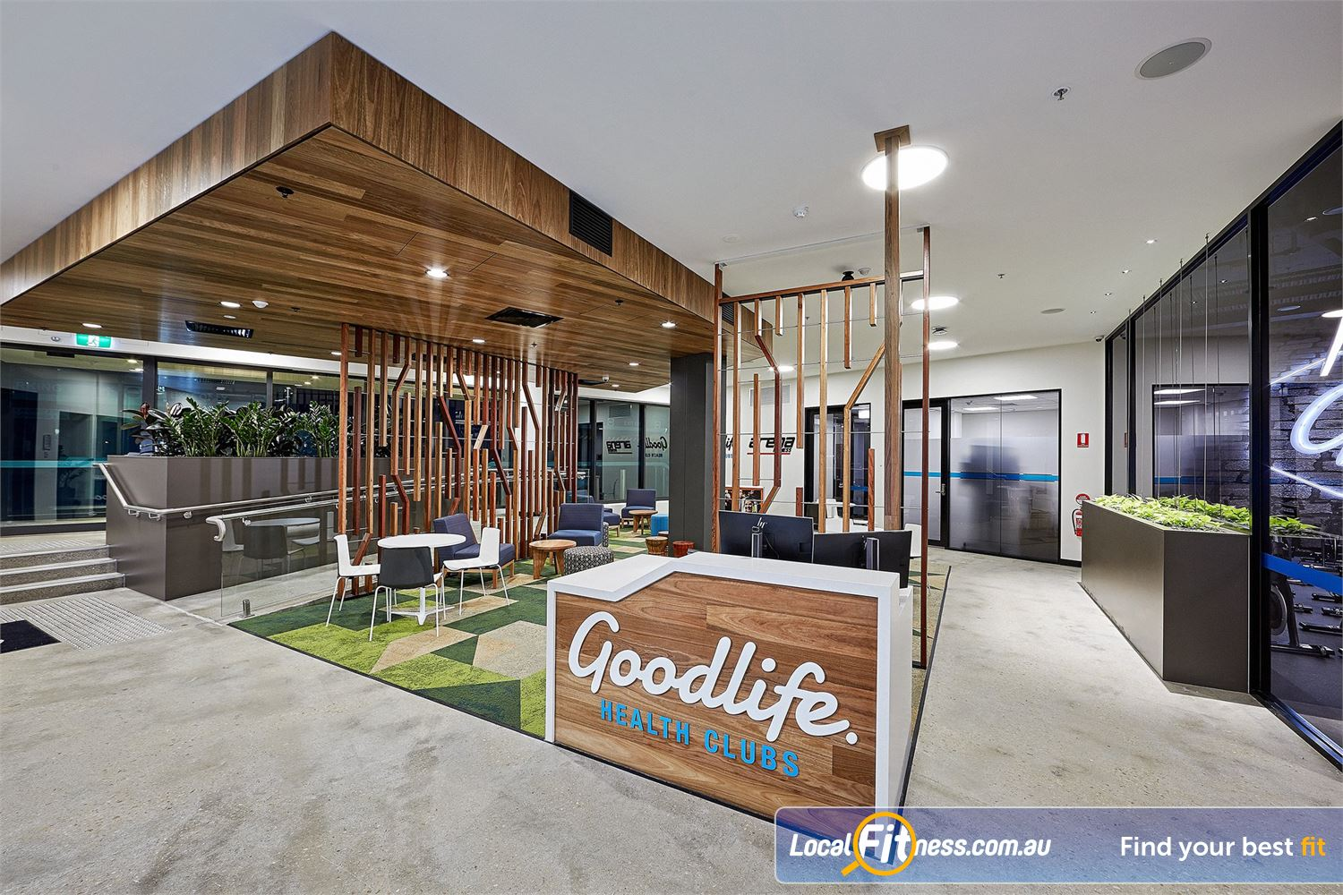 Goodlife Health Clubs Near Tennyson Comfortable and member lounge area.