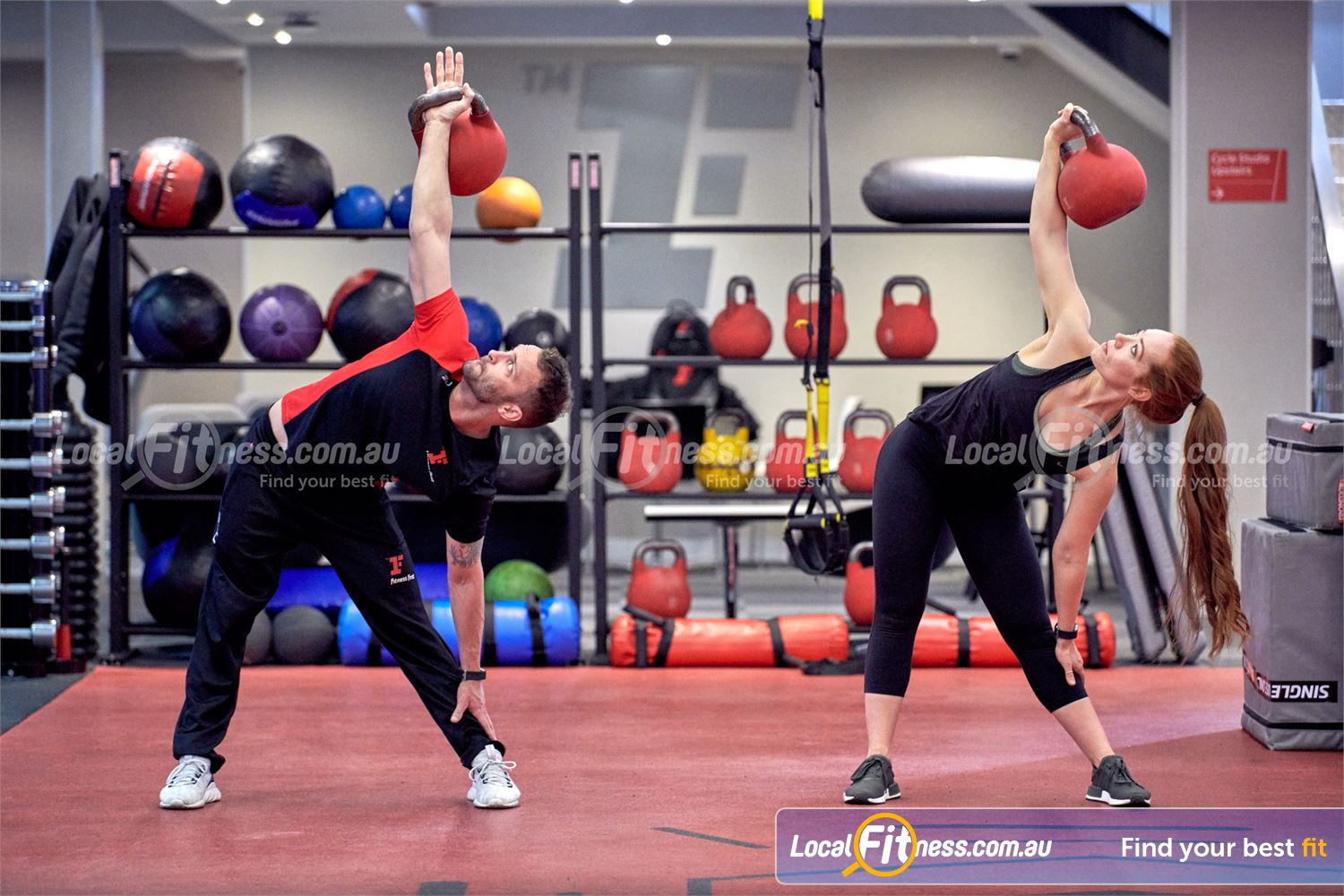 Fitness First Near Kogarah Kettlebell training is a great way to improve full body strength at Fitness First Rockdale.