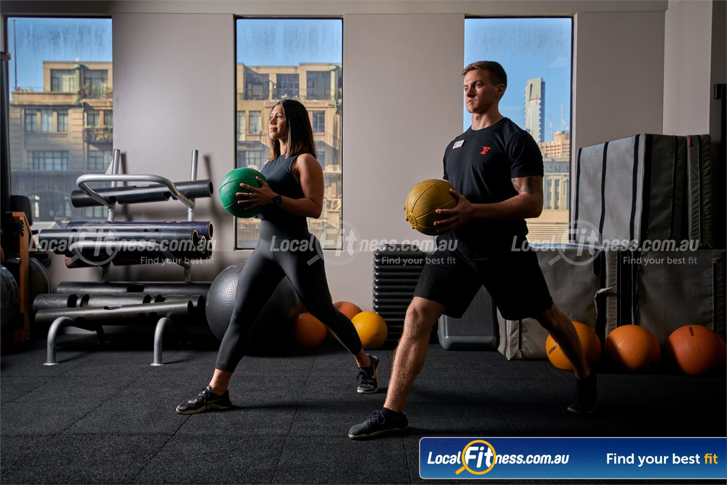 Fitness First Rockdale Dedicated ab and stretching area with medicine balls, fit balls and more.