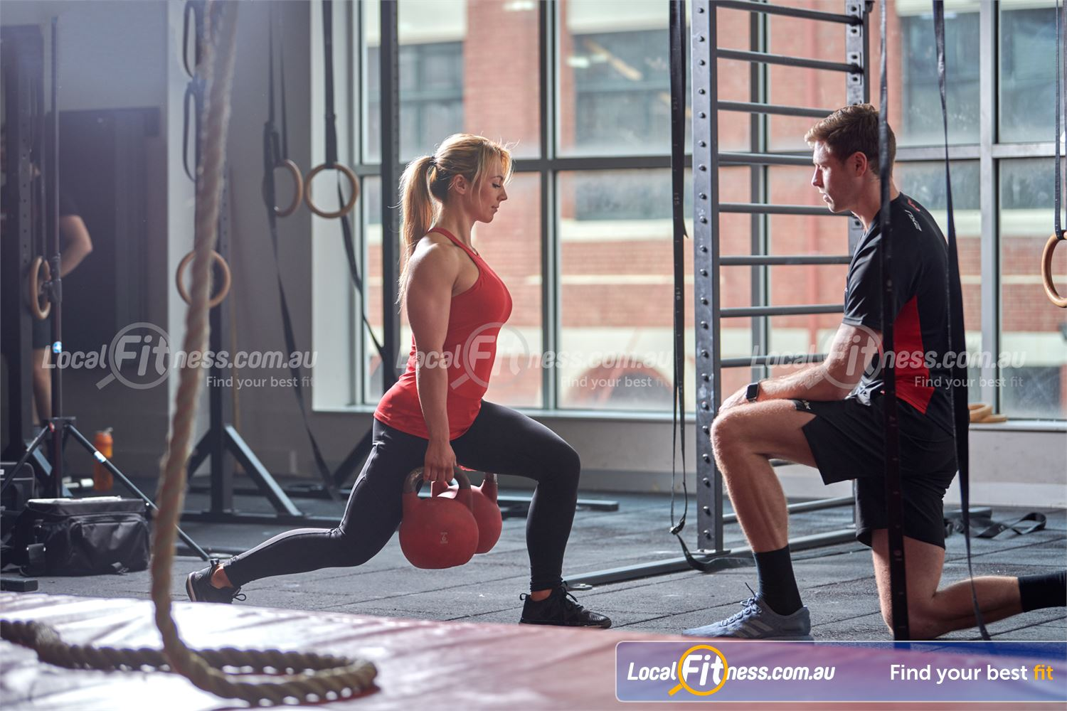 Fitness First Rockdale Improve your stability and strength with kettlebell lunges.