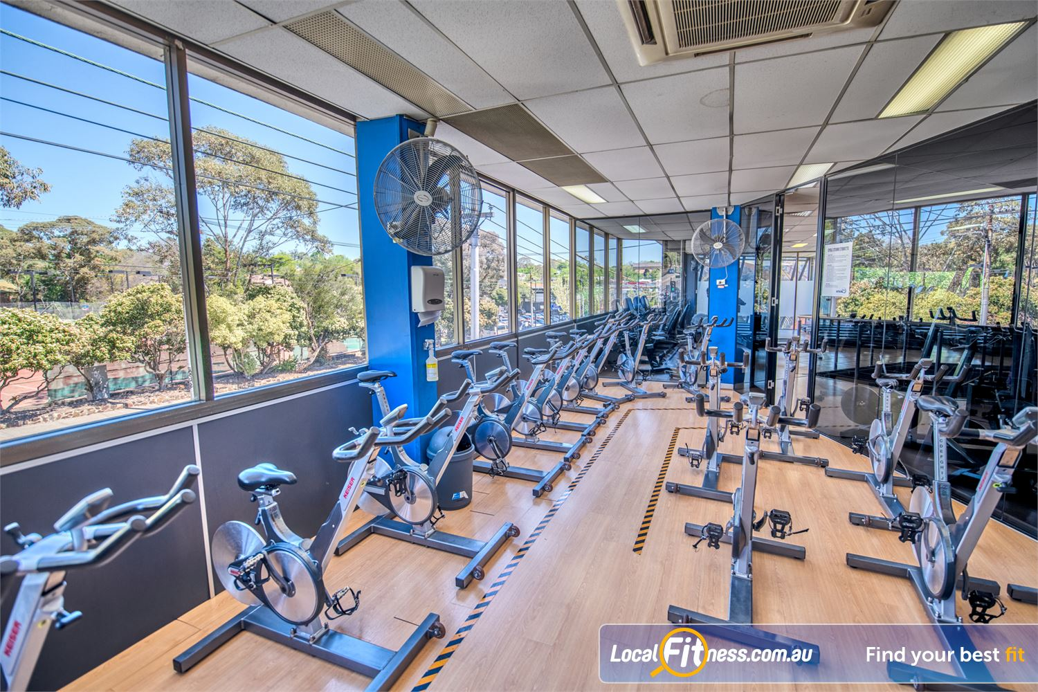 Goodlife Health Clubs Balwyn Our dedicated Balwyn spin cycle room with scenic views.