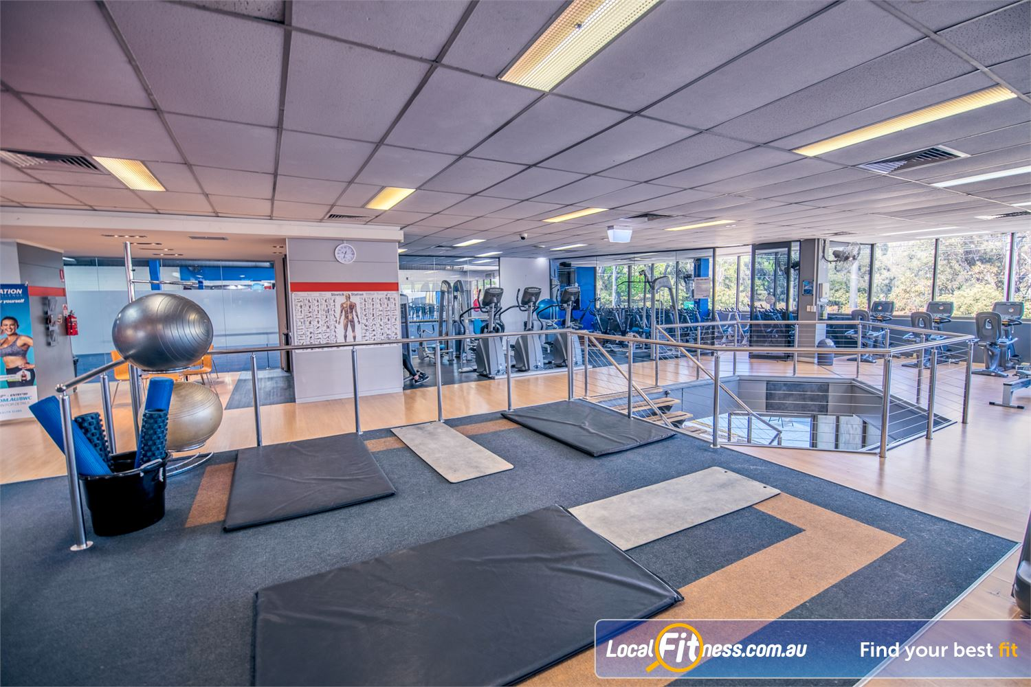 Goodlife Health Clubs Balwyn The spacious abs and stretching area with fitballs, mats, foam rollars and more.