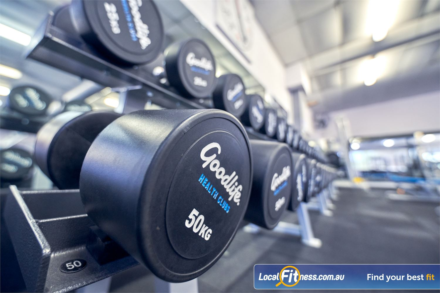 Goodlife Health Clubs Near Canterbury Our Balywn gym is fully equipped with free weights and dumbbells up to 50kg.