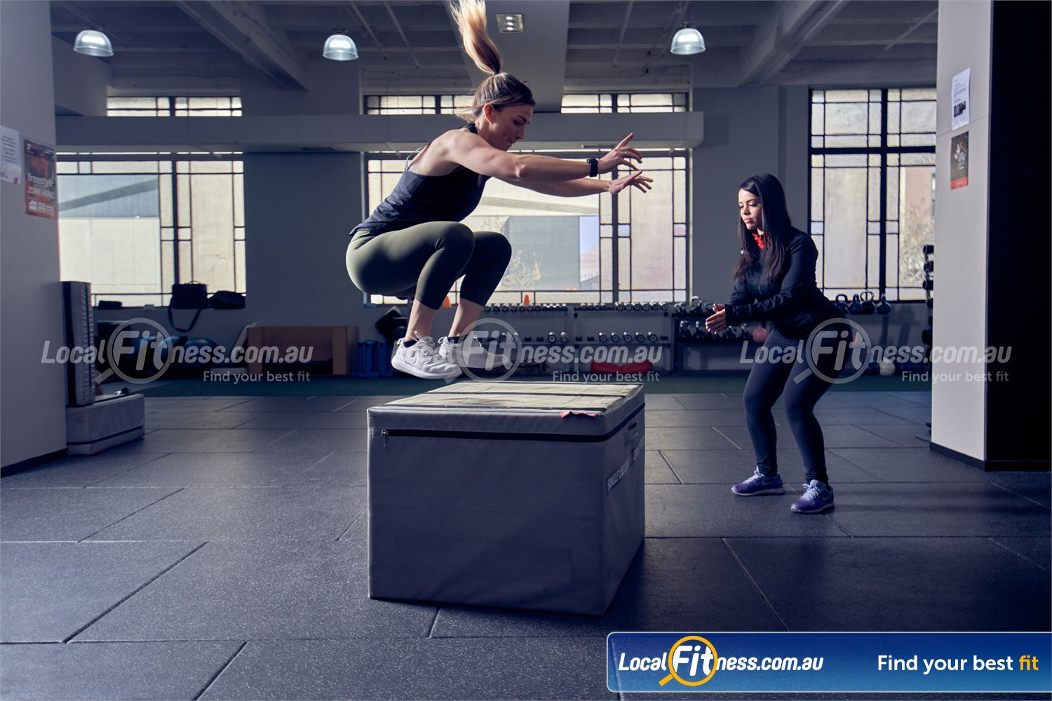 Fitness First Deakin Get into plyometric box jumps in our freestyle training area.