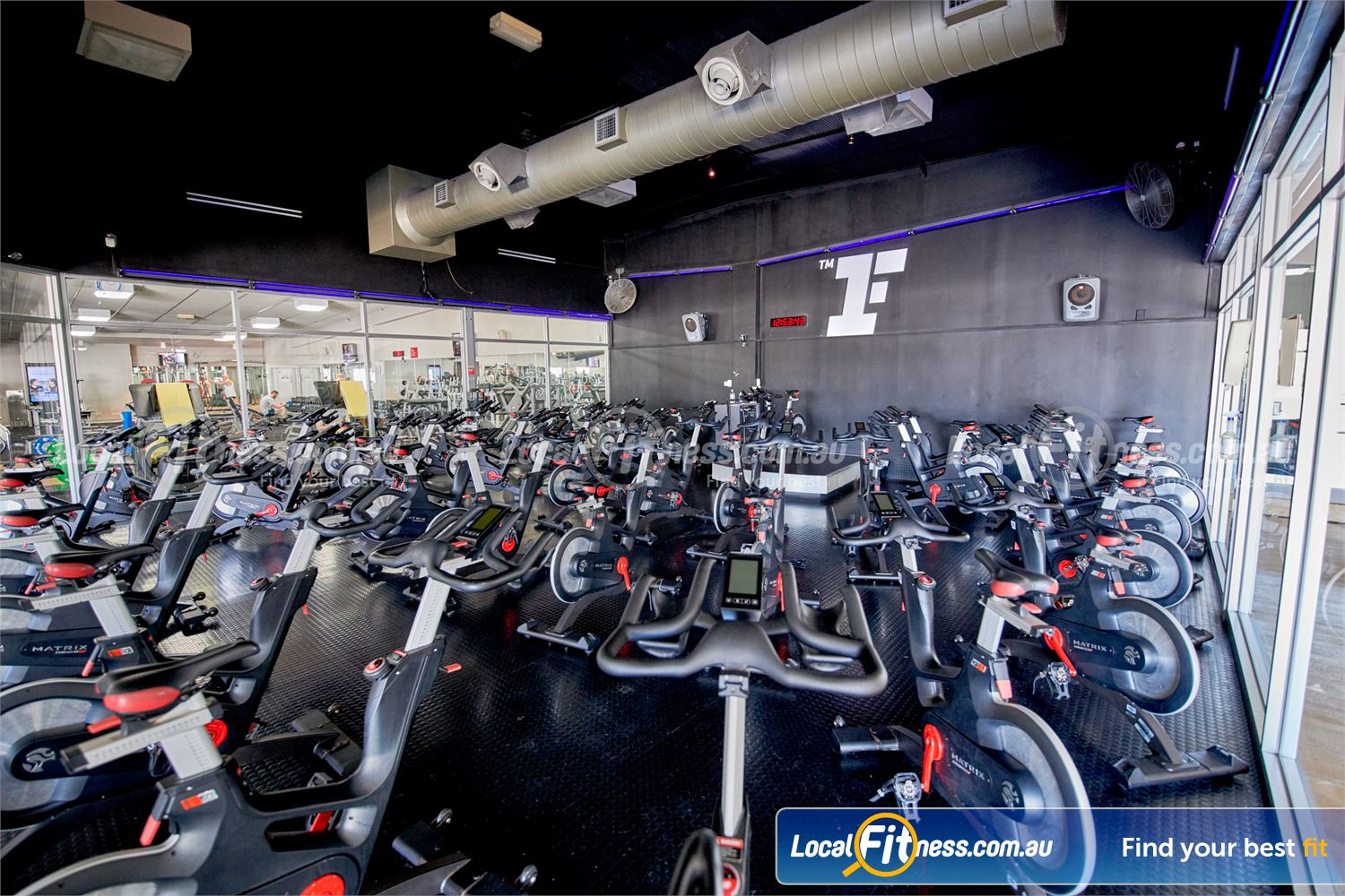 Fitness First Bayside Highett The dedicated Fitness First Bayside spin cycle studio.