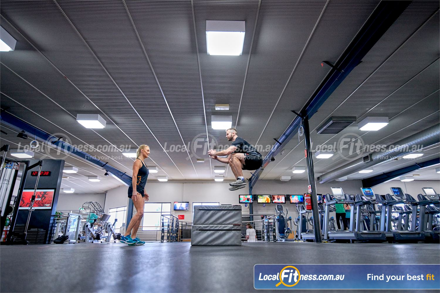 Fitness First Bayside Near Bentleigh Plyometric box jumps are a great way to improve fast-twitch muscle fibres.