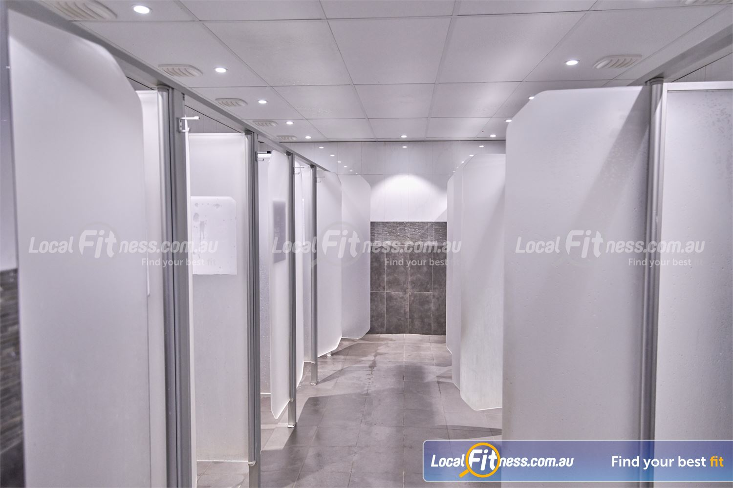 Fitness First Bayside Highett Luxurious shower facilities with complimentary shampoos and soaps.