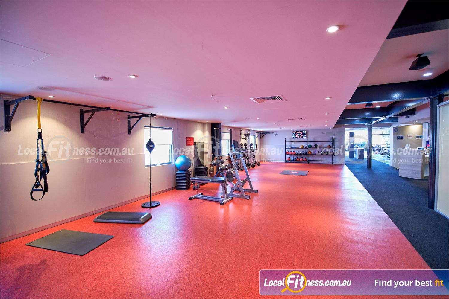 Fitness First Bayside Highett Freestyle training area with TRX, kettlebells, floor to ceiling balls and more.