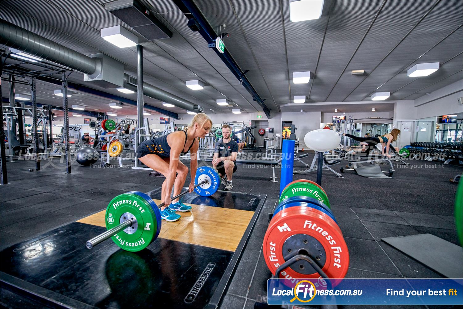 Fitness First Bayside Near Bentleigh Our Bayside gym includes a deadlifting platform.
