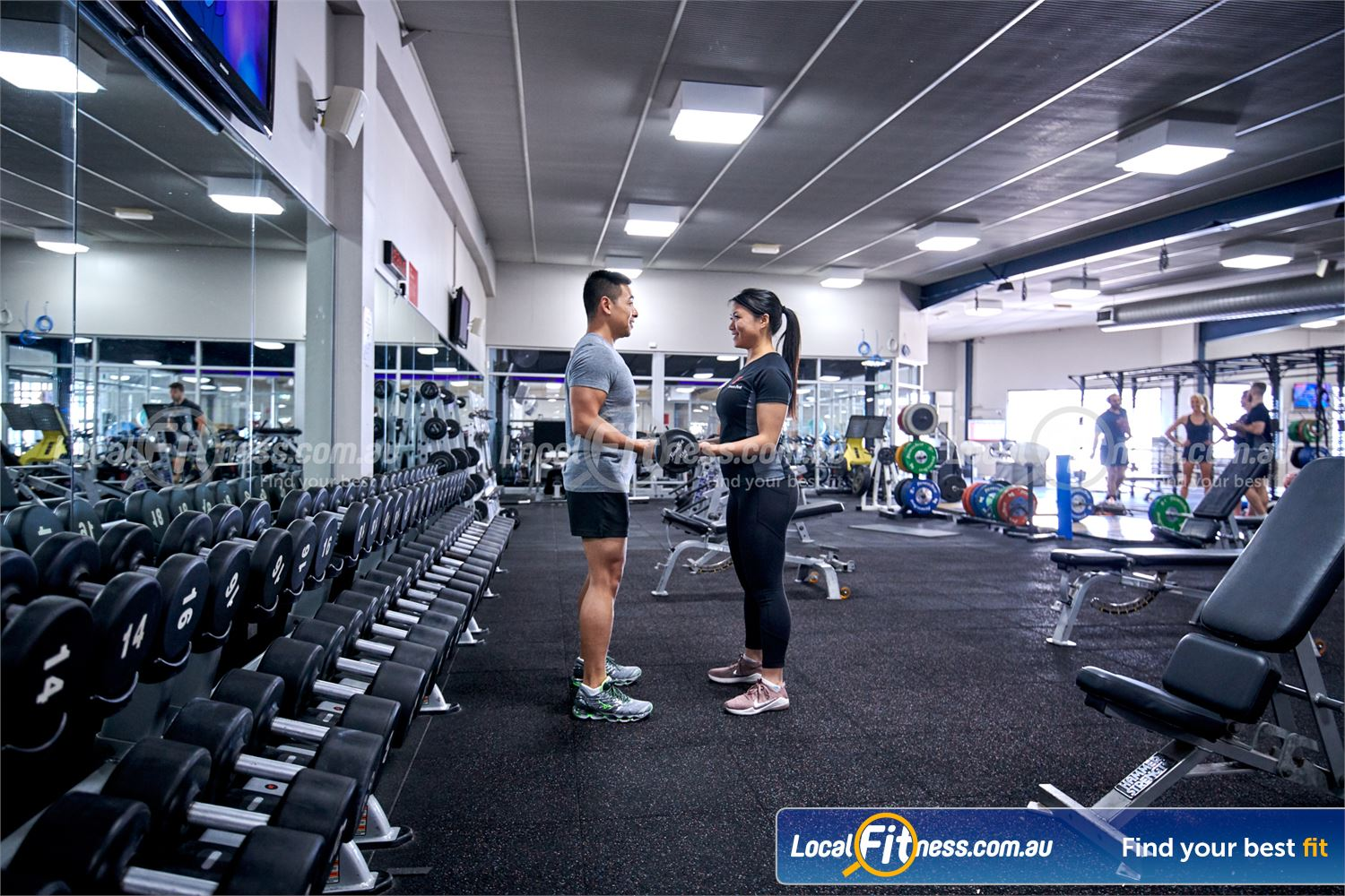 Fitness First Bayside Highett Our Bayside gym provides a fully equipped free-weights area.