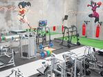Fully equipped free-weights area inc. dumbbells, barbells and