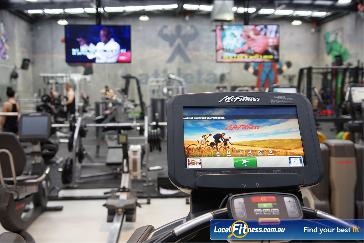 Athleta Gym Near Altona North Personalised entertainment screen on each cardio piece with the latest tech.