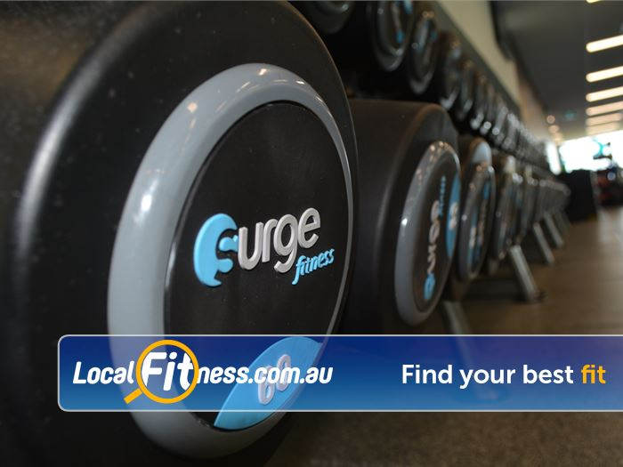 Surge Fitness Perth Our Perth gym includes a fully equipped free-weights area.