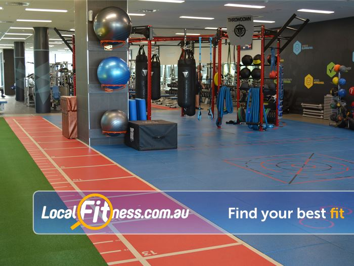 Surge Fitness Perth Indoor running track, sled track and interactive floor markings.
