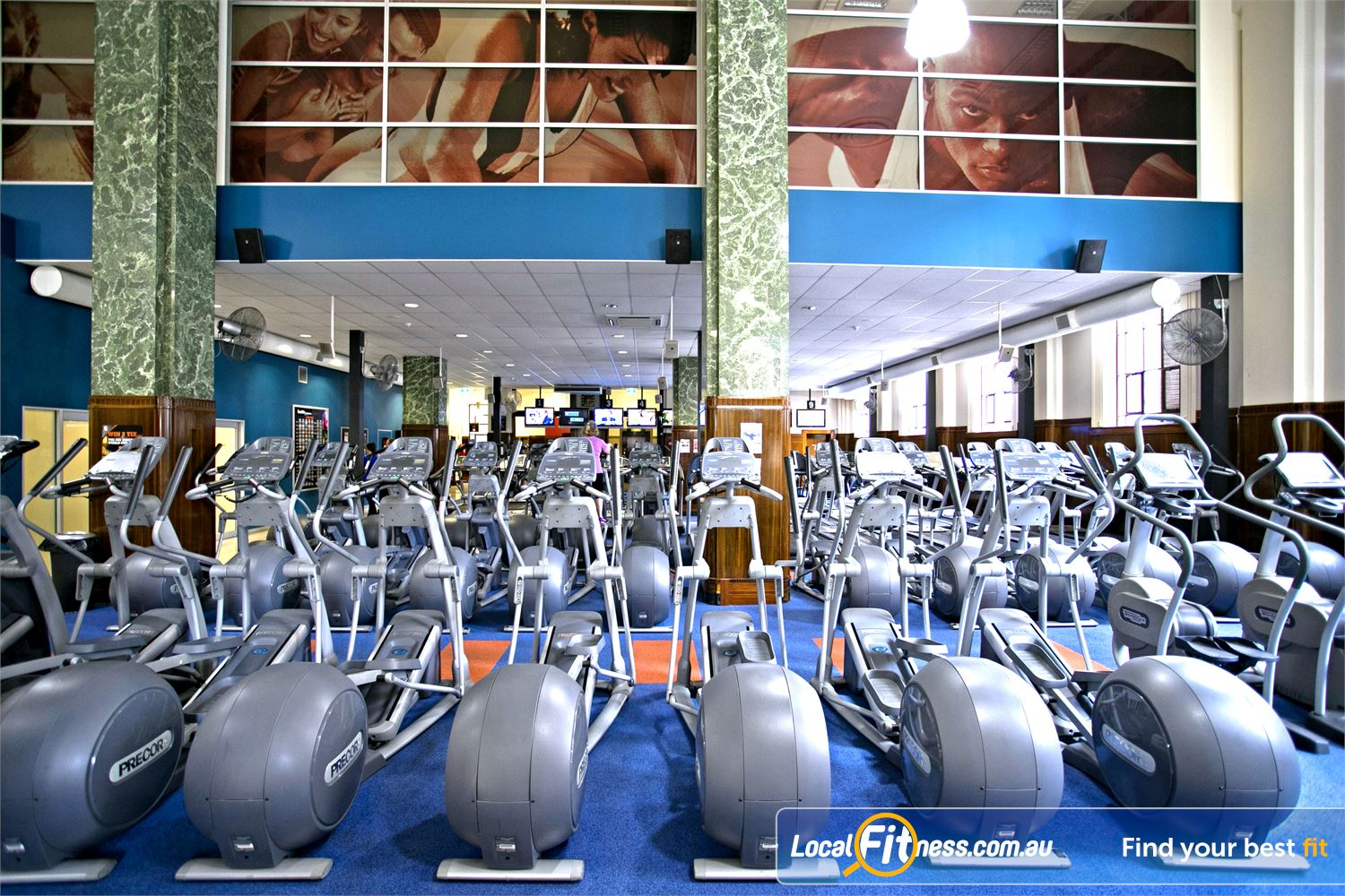 Goodlife Health Clubs Adelaide City Adelaide Rows of cardio machines so you don't have to wait.