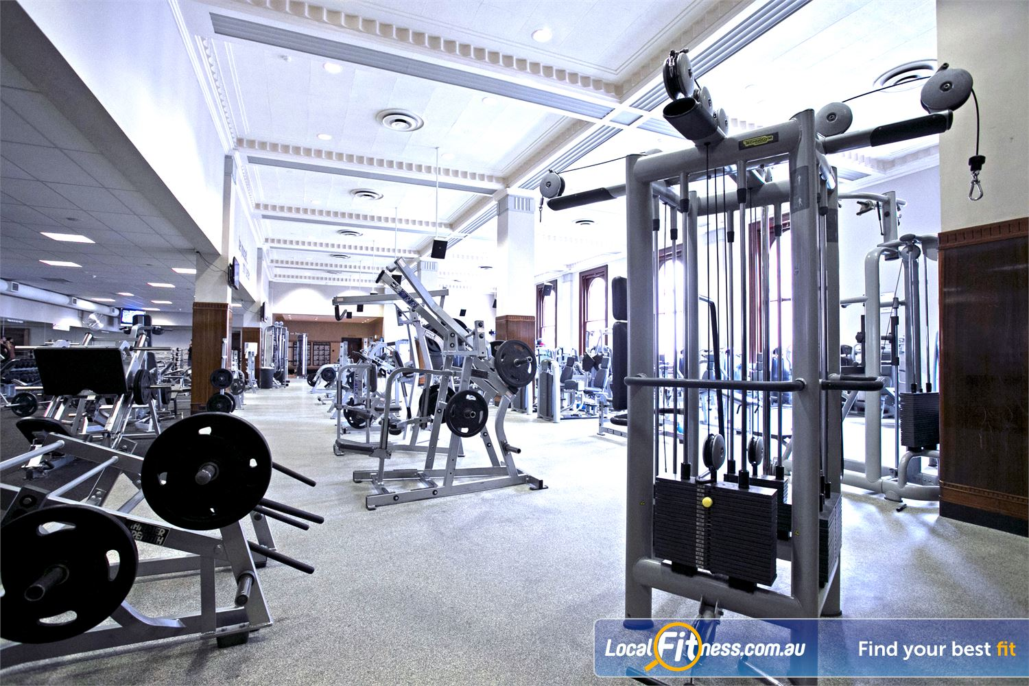 Goodlife Health Clubs Adelaide City Adelaide A comprehensive range of plate loading and pin-loading machines for strength training.