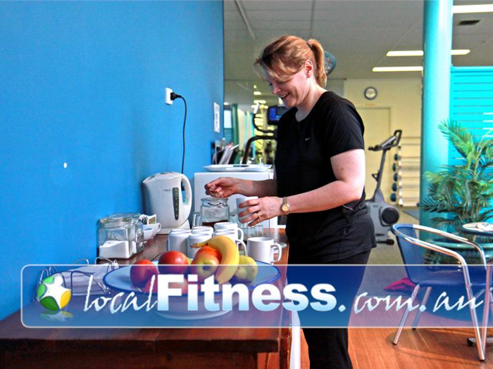 Fernwood Fitness Epping Unwind at the member's lounge/kitchen after a rewarding workout.