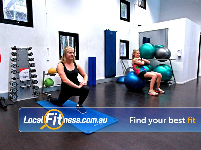 Burwood Fitness Centre Near Surrey Hills The stretching area includes fitballs, mats, foam rollers.