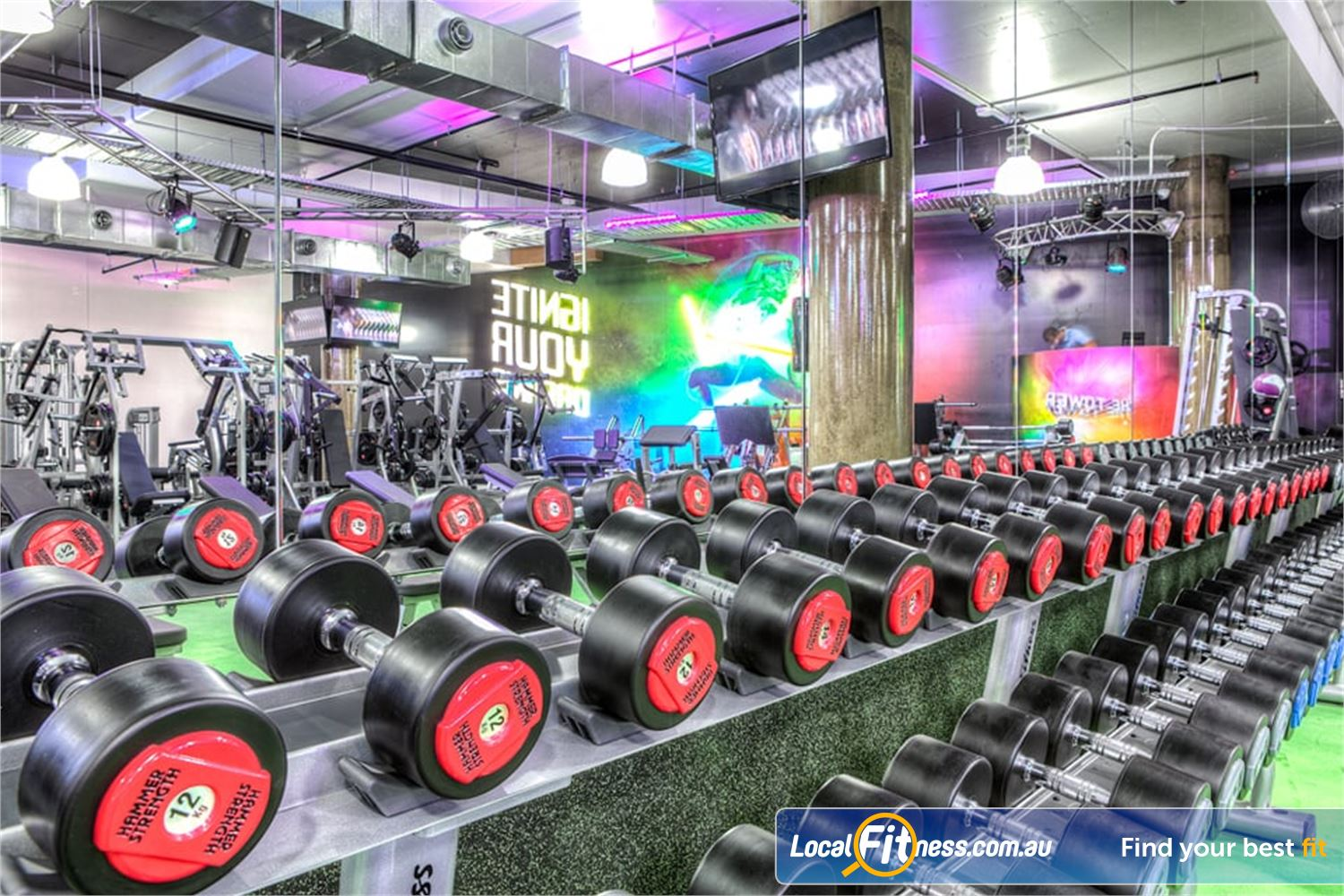 Goodlife Health Clubs Near North Lakes The free-weights area includes dumbbells, barbells, benches and more.