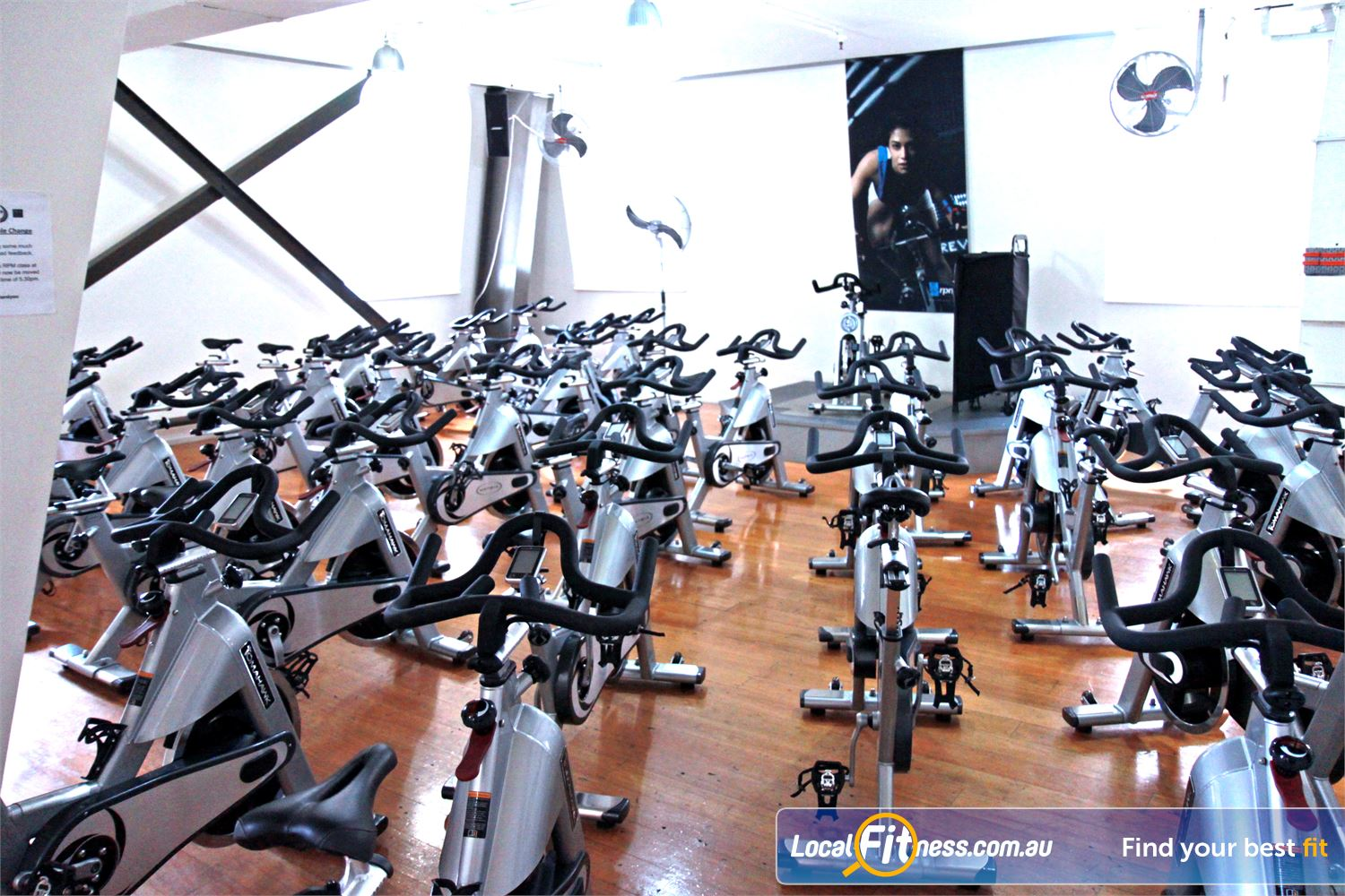 Goodlife Health Clubs Martin Place Near World Square Dedicated Sydney spin cycle studio with the Tomahawk S Series cycle bikes.