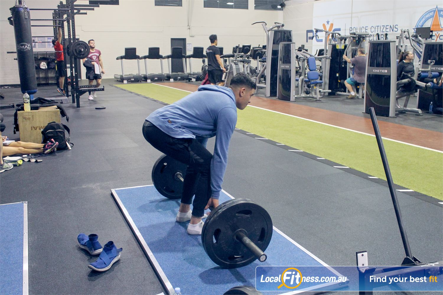 PCYC Auburn Lidcombe Multiple lifting platforms perfect for deadlifting.