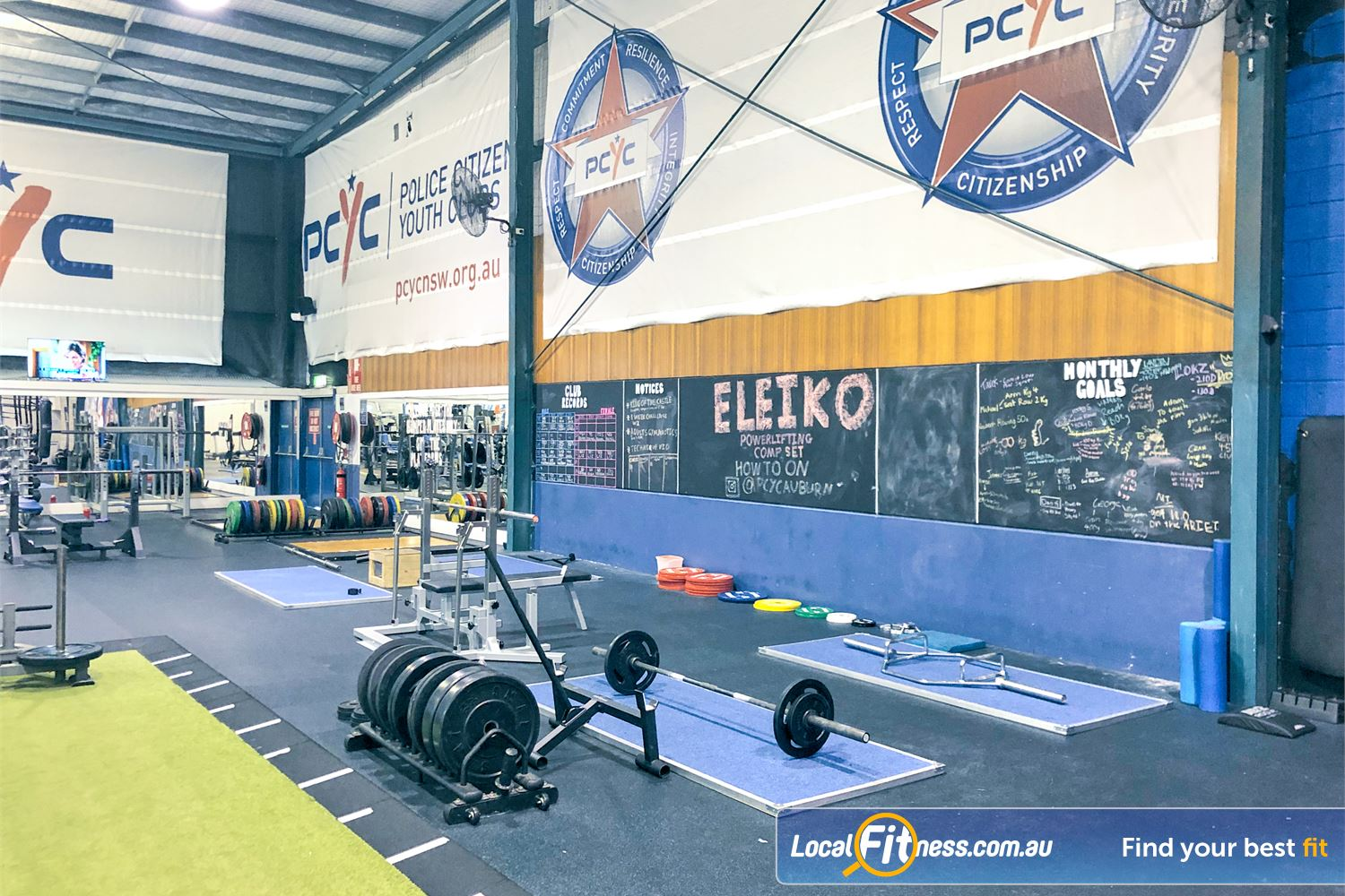 PCYC Auburn Lidcombe The powerlifting area includes multiple deadlift platforms.
