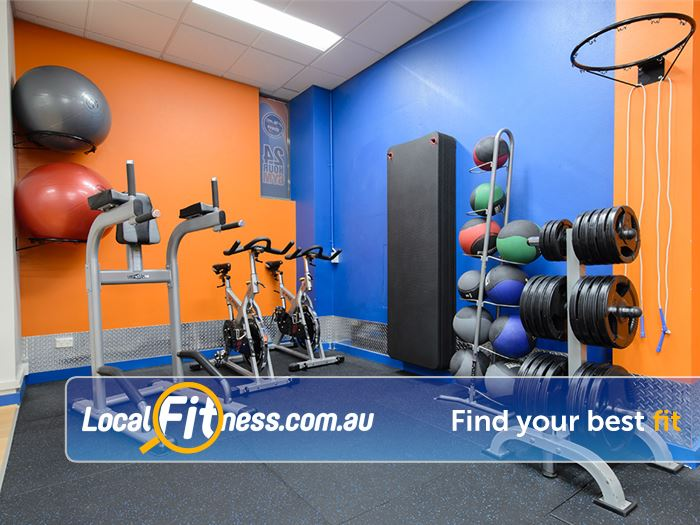 Plus Fitness Health Clubs Near Huntleys Point Fitballs stretching mats, medicine balls in our abs and stretch area.