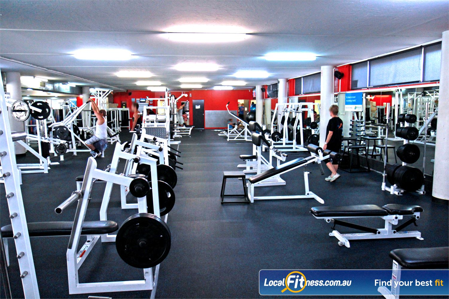 Goodlife Health Clubs Alexandra Hills The fully equipped Alexandra Hills free-weights gym area.
