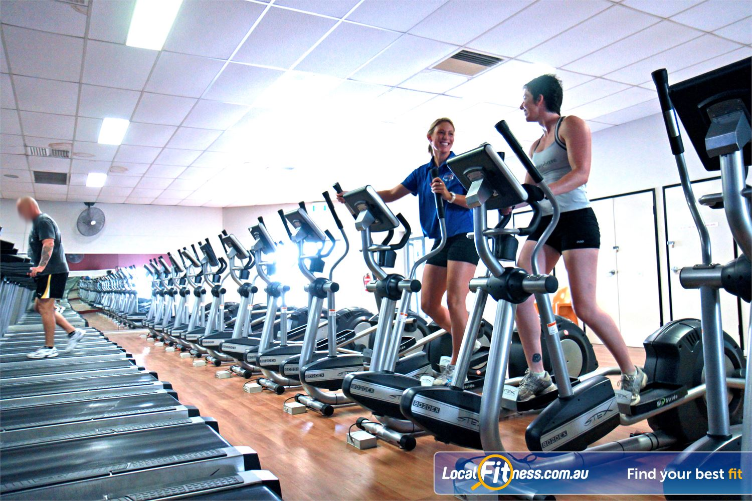 Goodlife Health Clubs Alexandra Hills Goodlife Alexandra Hills gym offers rows of cross trainers.