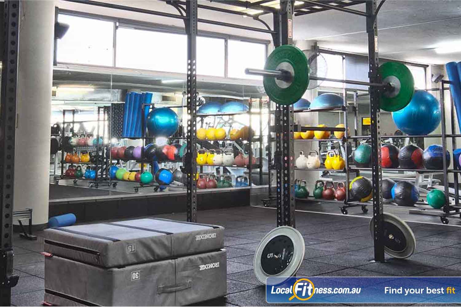Goodlife Health Clubs Near Thornlands The fully equipped functional training area in our Alex Hill gym.