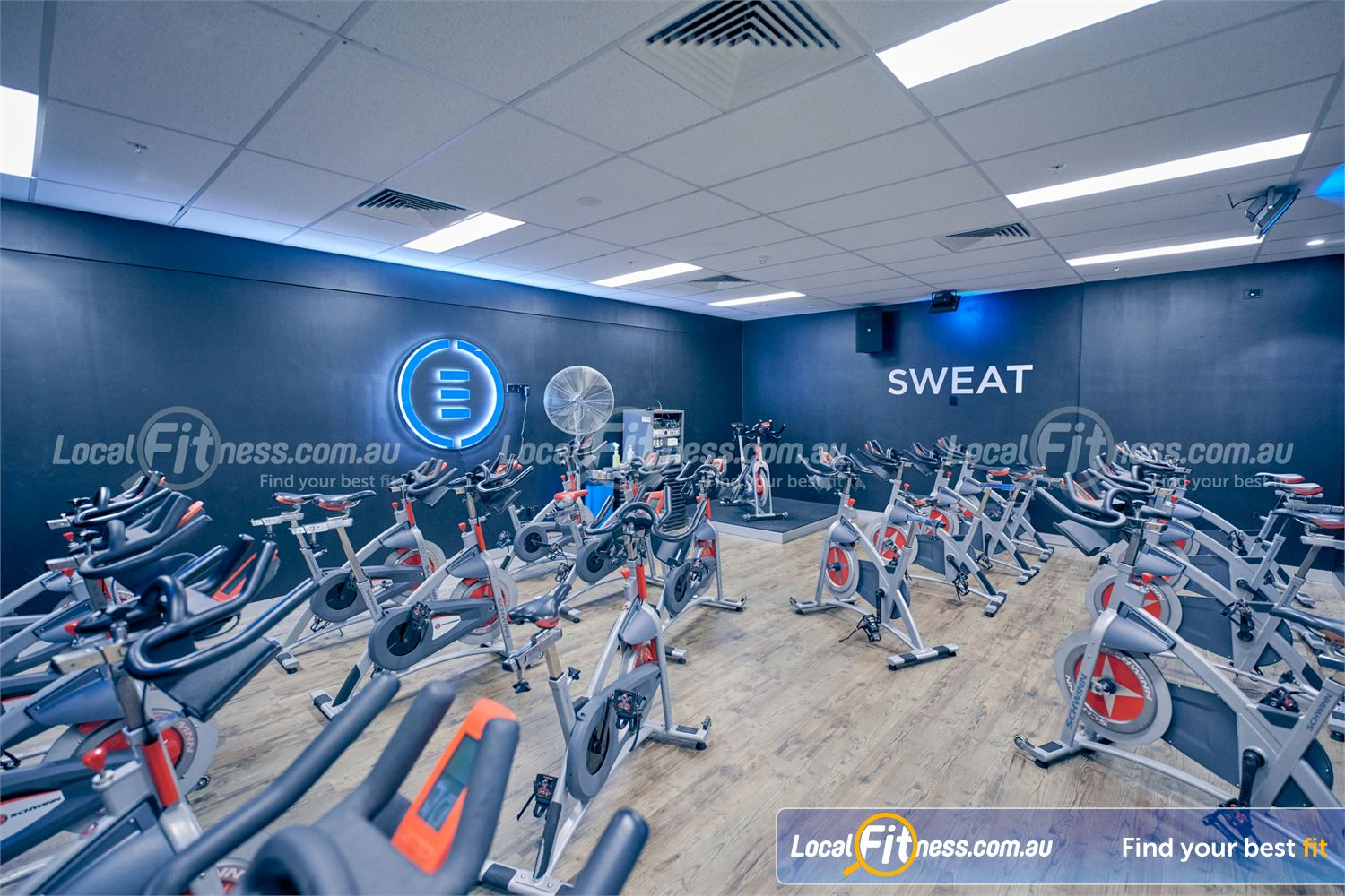 Element Fitness Health Club Nunawading The funky Nunawading spin cyle studio.
