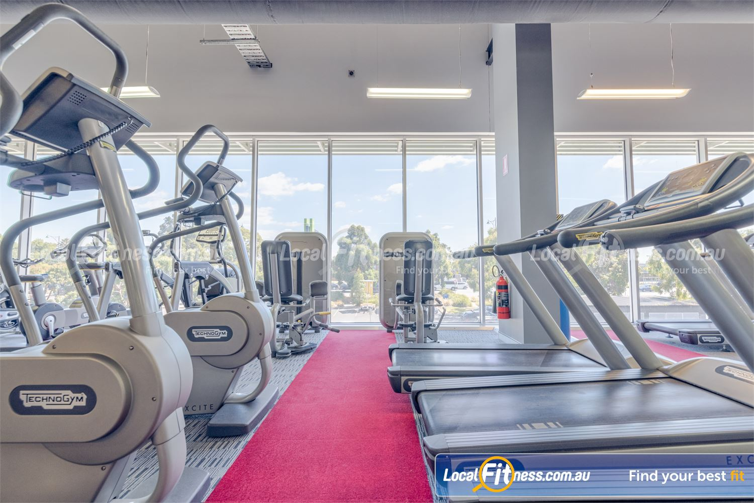 Element Fitness Health Club Near Vermont South Scenic light-filled views from our cardio area.
