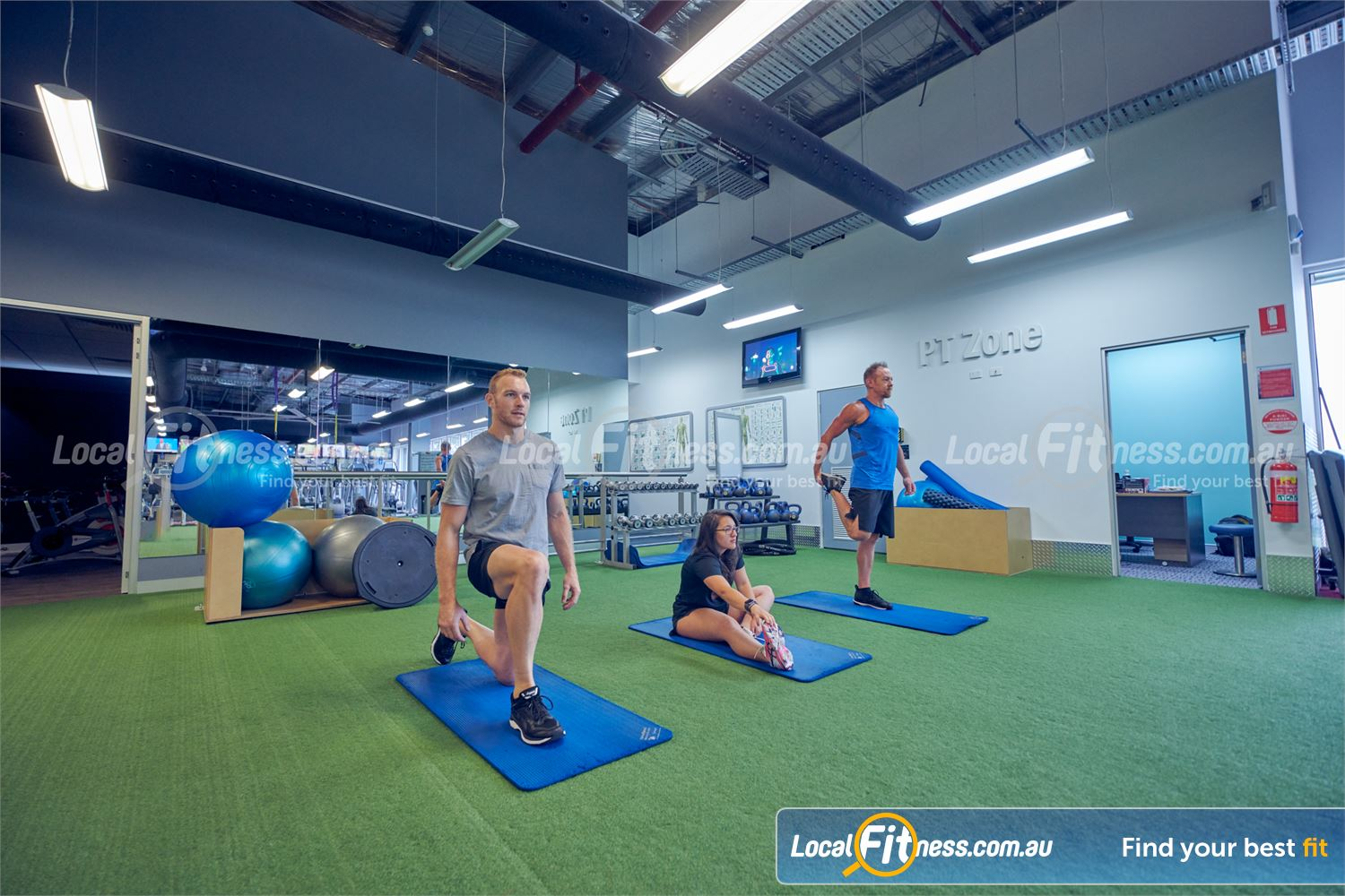 Element Fitness Health Club Nunawading Dedicated abs and stretching space.