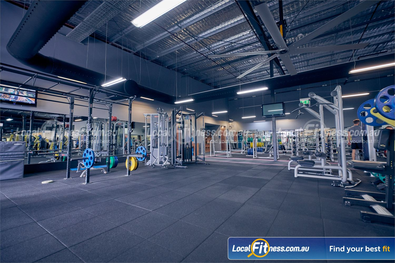 Element Fitness Health Club Near Vermont South The spacious Nunawading HIIT gym space with strength cage.