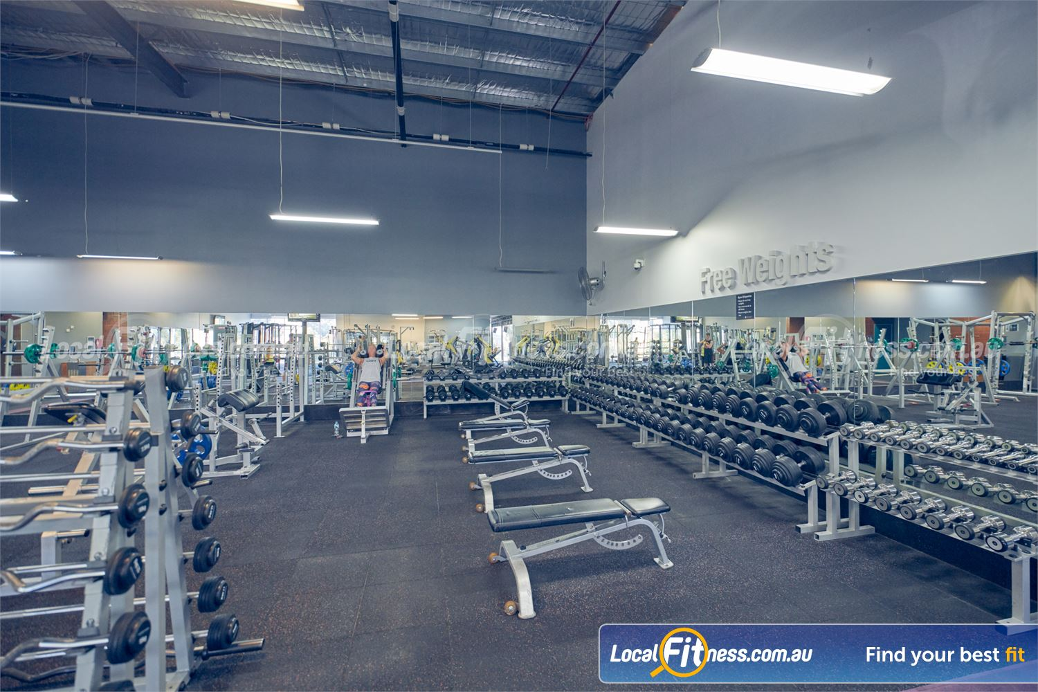 Element Fitness Health Club Nunawading The comprehensive free-weights area at Elements Fitness Health Club Nunawading.
