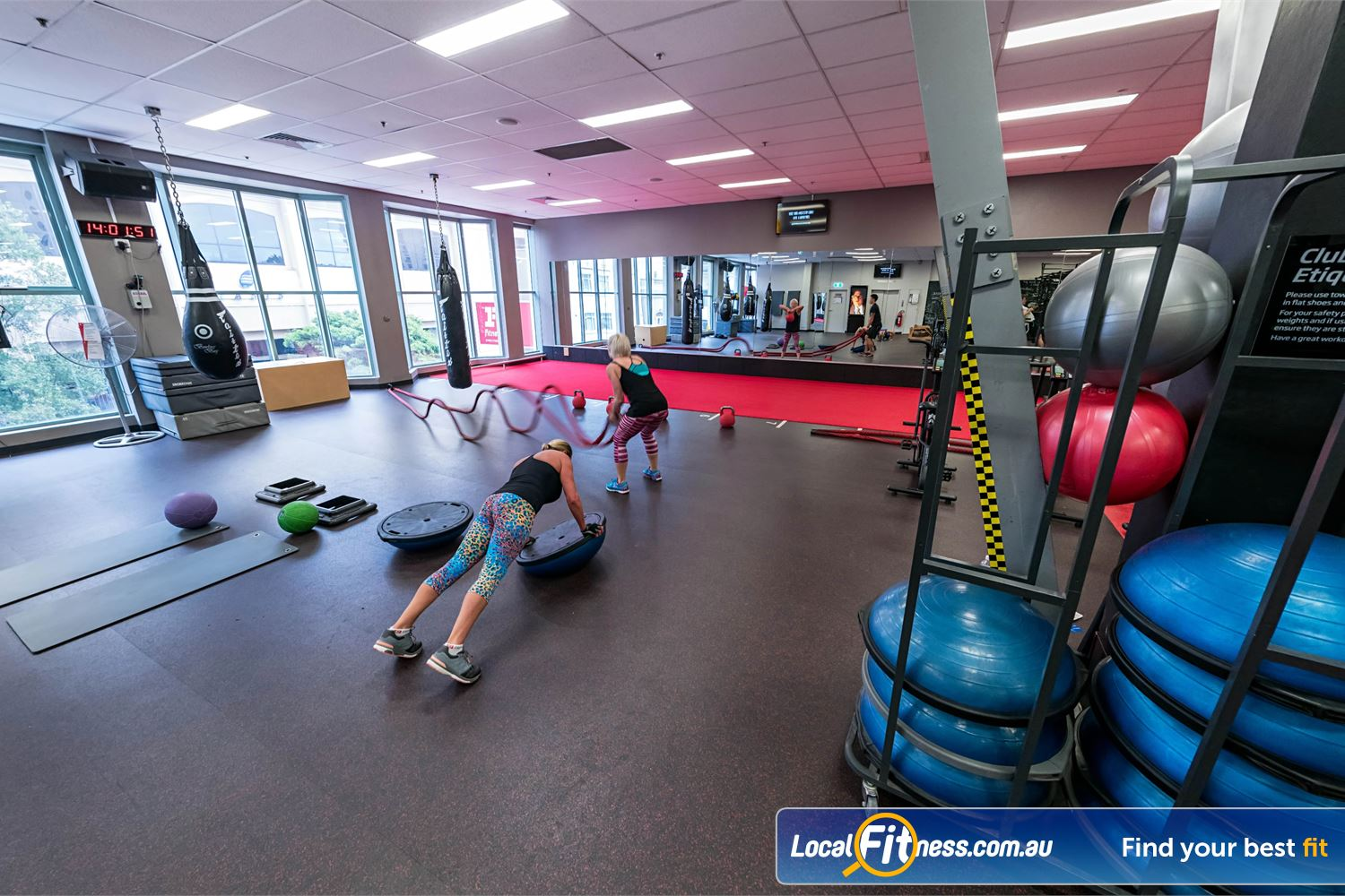 Fitness First Platinum Spring St Near Queens Park The freestyle area includes battle ropes, indoor sled track, heavy boxing bags and more.