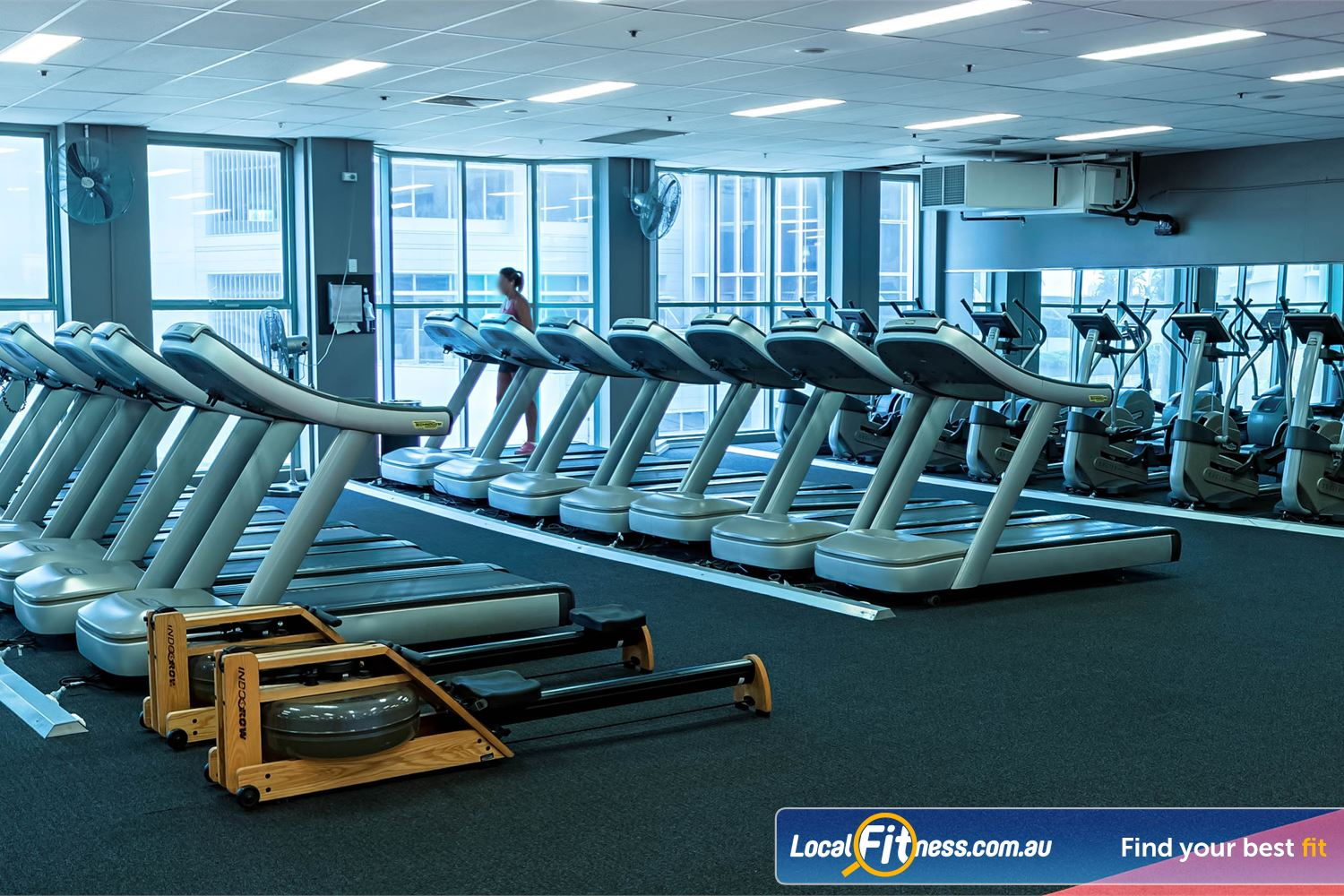Fitness First Platinum Spring St Near Charing Cross Floor to ceiling windows in our fully equipped cardio area.