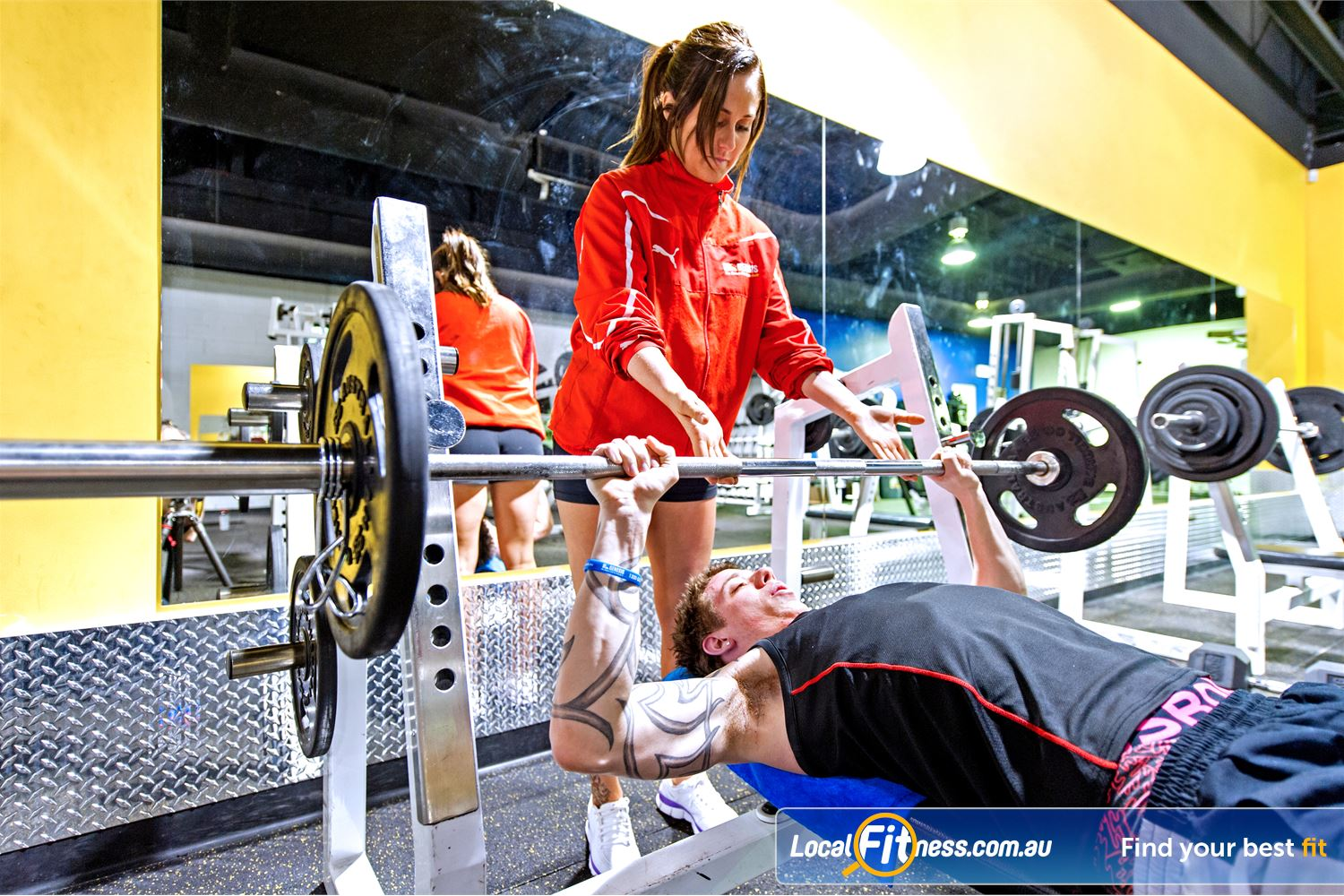 Vibe Health Clubs Blacktown Blacktown gym instructors can help you build muscle through free-weights.