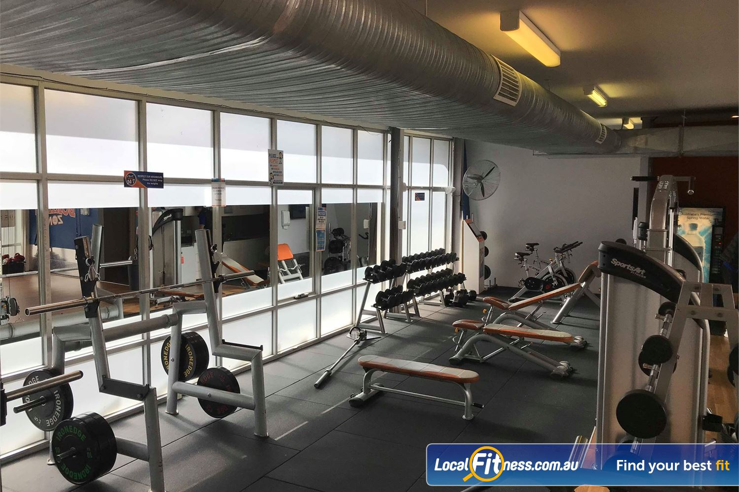 Plus Fitness 24/7 Near Notting Hill The free-weights area in our Oakleigh gym provides a perfect strength training environment.