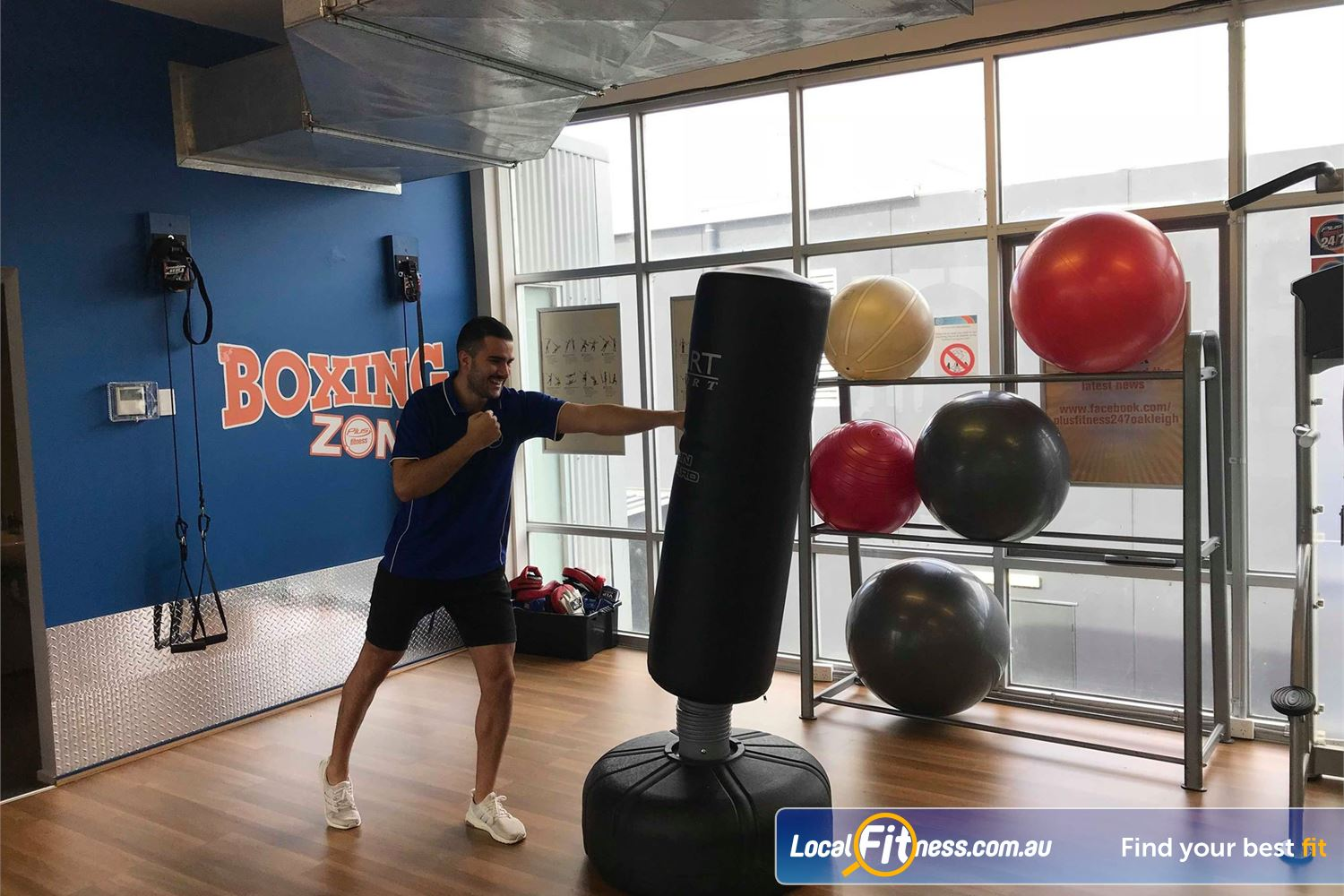 Plus Fitness 24/7 Oakleigh Dedicated functional area with free standing boxing zone in Oakleigh.