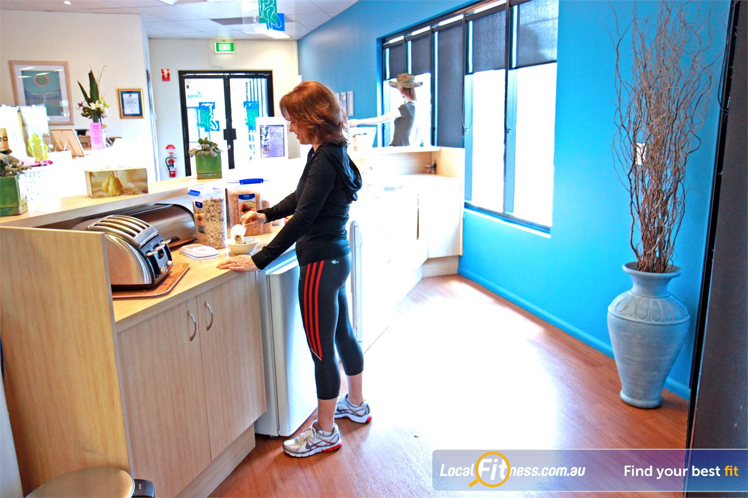 Fernwood Fitness Near Murrumba Downs Fresh fruit and coffee are provided at Fernwood's kitchen.
