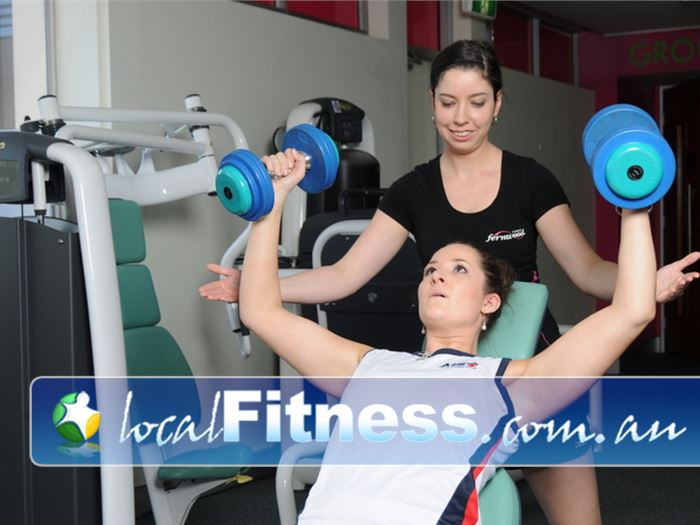 Fernwood Fitness Green Square Near Eveleigh Alexandria personal trainers can add free-weights into your training.