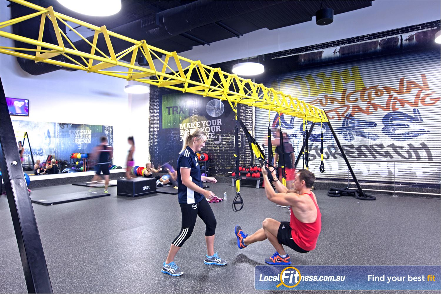 Goodlife Health Clubs Maroochydore Incorporate TRX training into your workouts in our functional training area.