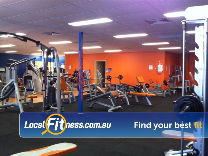 Plus Fitness 24/7 South Lake Comprehensive free-weights range inc. dumbbells, benches and more.