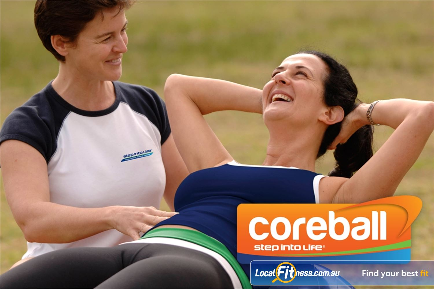 Step into Life Near Essendon North A fit ball used outdoors and combined with dumbbells and cross training.