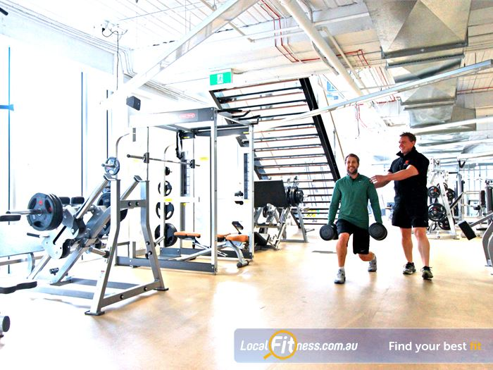 South Pacific Health Clubs Gym Docklands  | Comprehensive free-weights area at South Pacific Melbourne gym.