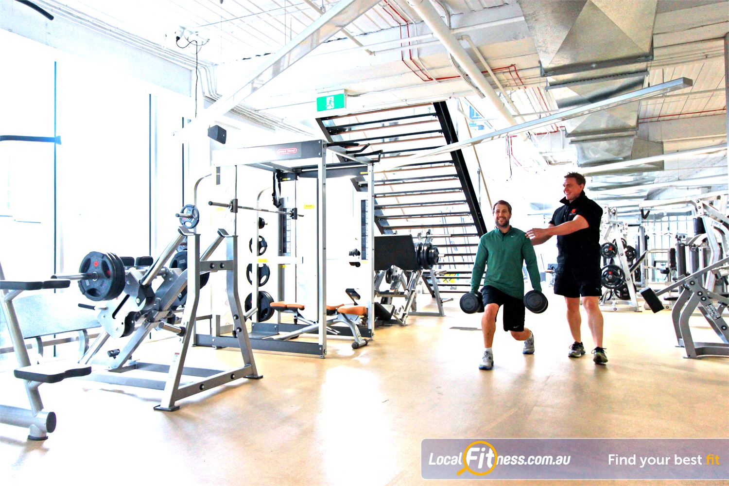 South Pacific Health Clubs Melbourne Comprehensive free-weights area at South Pacific Melbourne gym.