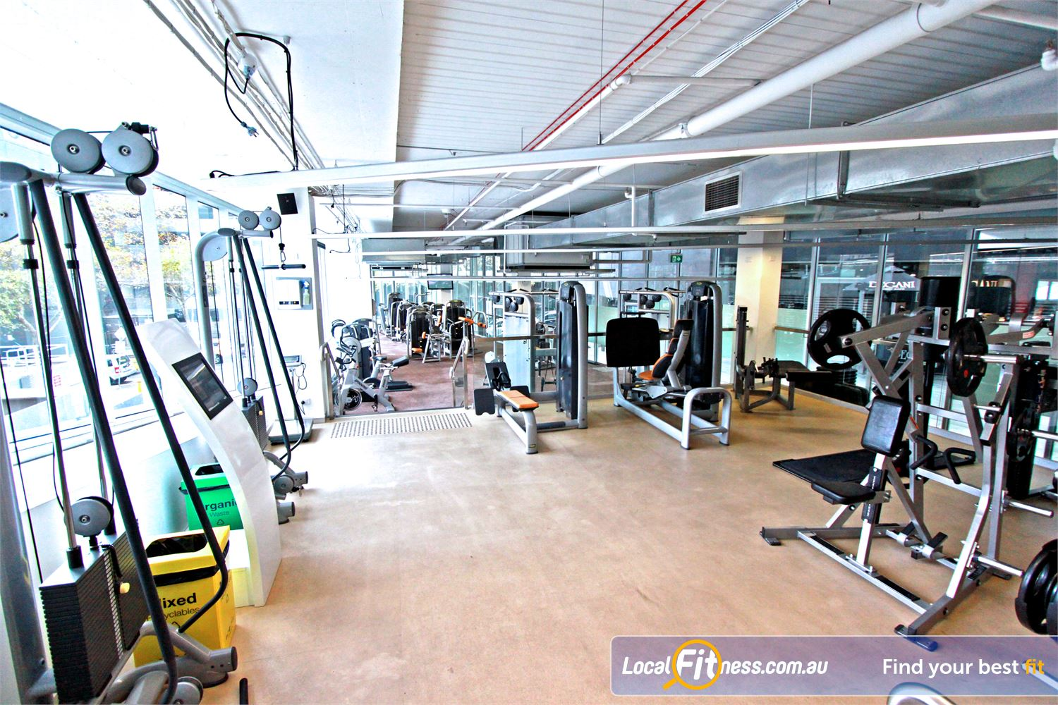 South Pacific Health Clubs Near Southbank A full range of pin-loaded and plate loading machines from Technogym and Life Fitness.